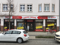 "Elektro Matschke-Fensterbeschriftung Senftenberg ""Wir bauen um!"""