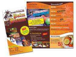 Gasthaus Palmbaum-Faltflyer DIN lang, 4 Seiten